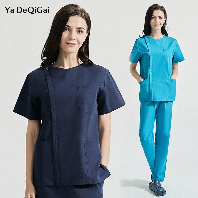 Womens fashion scrubs sets uniforms v-neck tops+pants High quality pet workwear women&men 2pc lab coat+pants