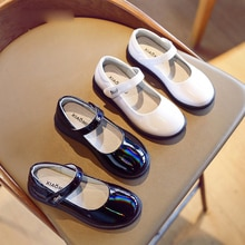 New Spring Kids Princess Shoes Children Black Flats Baby Girls Patent Leather Shoes Sweet Brand Shoe