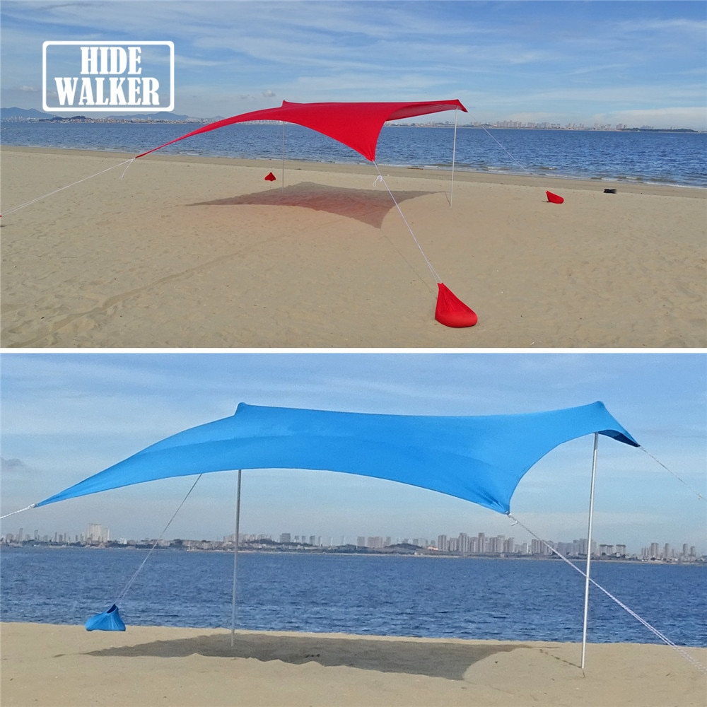 Beach Tent Set Beach Sun Shelter Kit Multifunction Outdoor Camping Awning Sunproof Canopy Sunshade for Seaside Vacation for 3~4