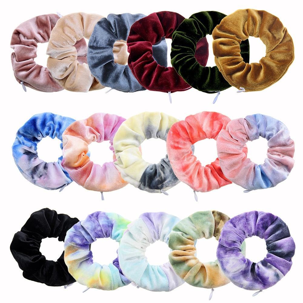 Zipper Korean Velvet Scrunchie Women Girls Elastic Hair Rubber Bands Accessories Pocket Wallet Hair