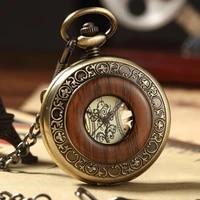 retro steampunk wood grain hollow mechanical pocket watch clamshell hollow roman numeral manual mechanical male pocket watch