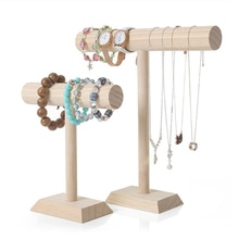 Portable Hard Wooden Bracelet Chain T-Bar Rack Jewelry Display Stand for Bangle Watch Necklace Home