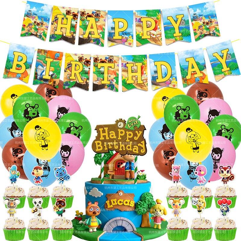 48pcs/set Animal Crossing Balloons Anime Animal Crossing Happy Birthday Banner Cake Topper Baby Show