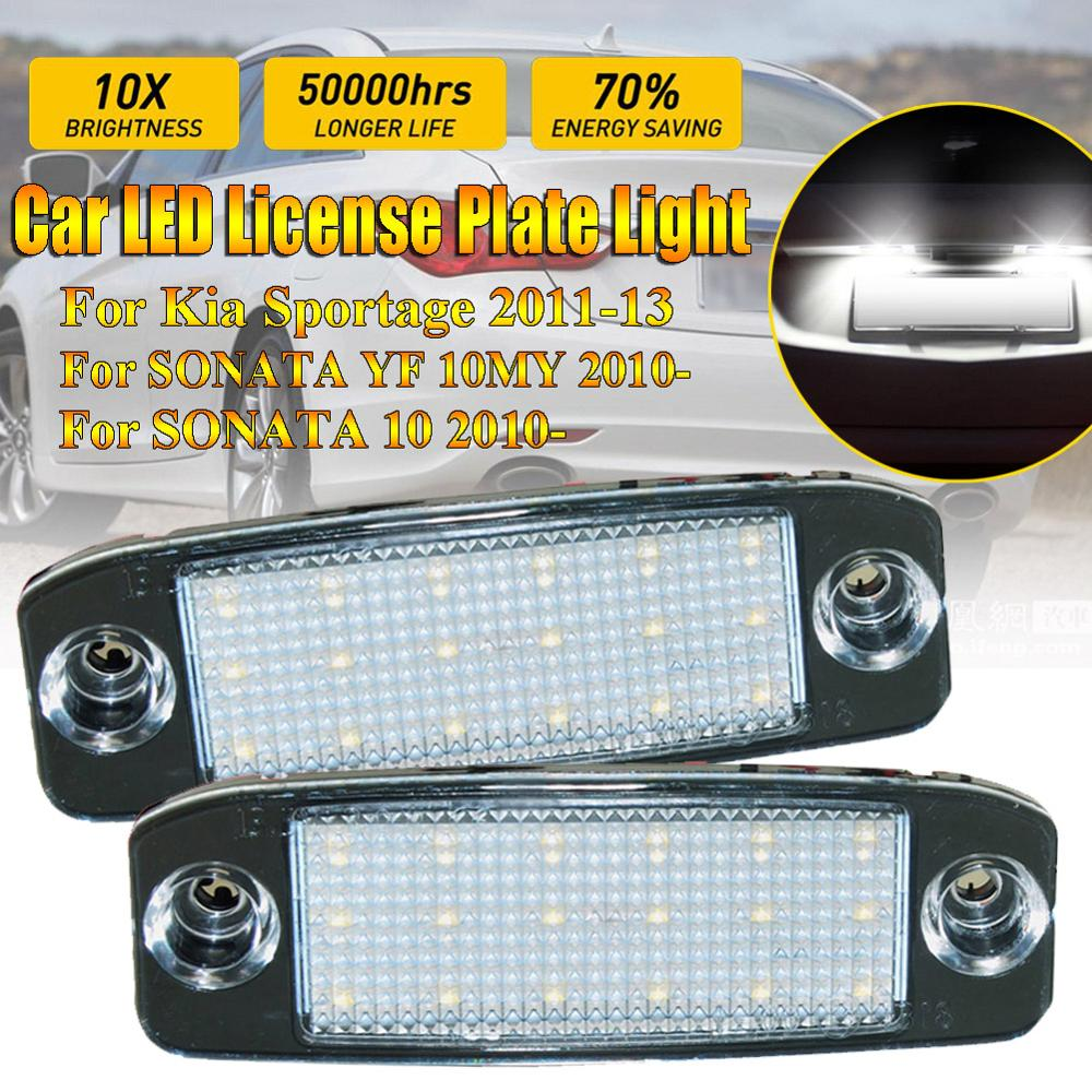 2pcs 12v Led Number Plate Lamp Bulb Kit For Hyundai Sonata Yf 10my Gf 10 White Canbus License Plate Lights For Kia Sportage Signal Lamp Aliexpress