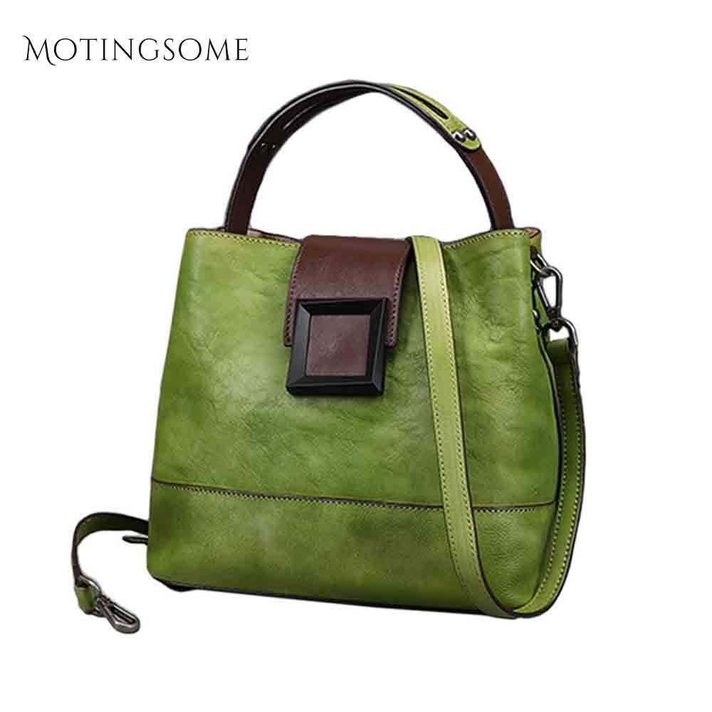 Retro couro genuíno balde saco de ombro das mulheres handwork limpar cor senhoras saco de couro natural grandes sacos de compras 2020 novo