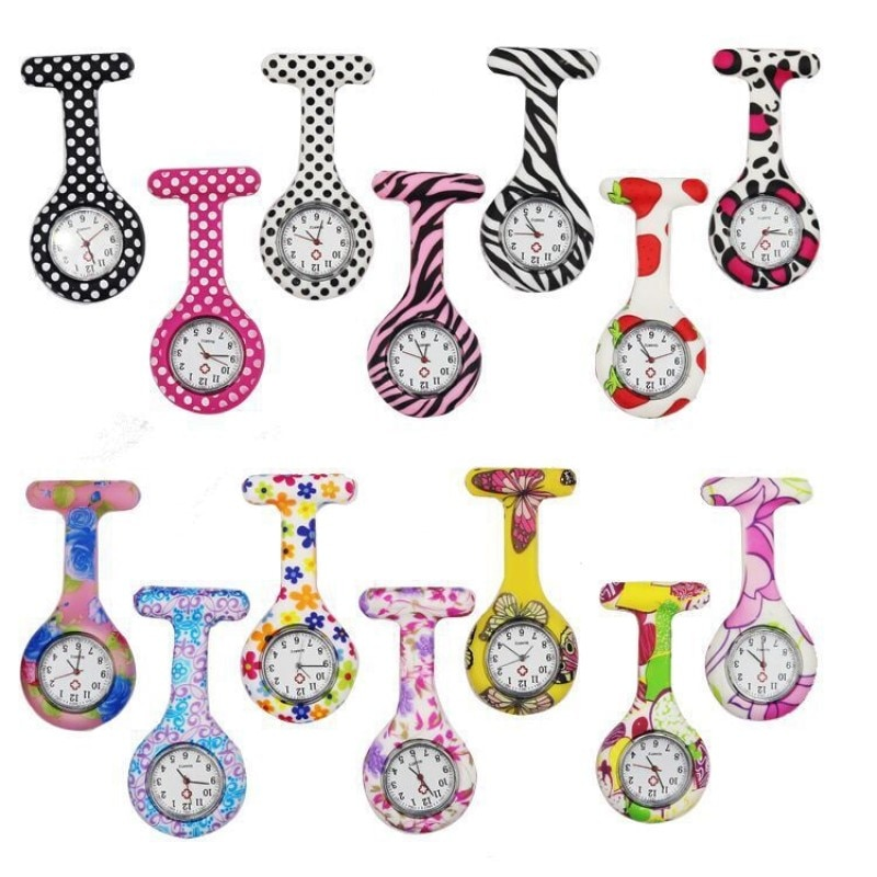 2021 Hot Sell High Quality Casual Nurse Watch Multicolor Pattern Arabic Numerals Round Dial Silicone Nurses Brooch Fob Watch