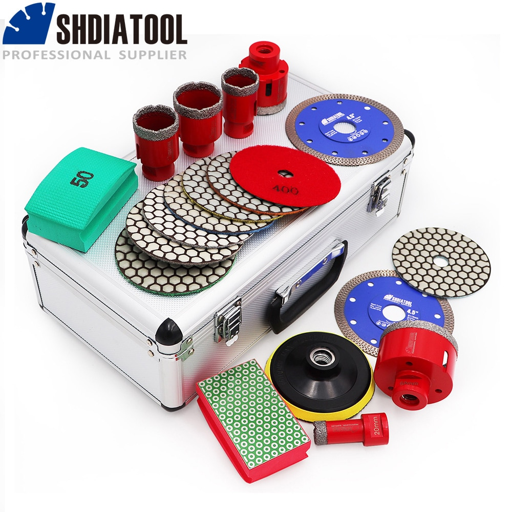 SHDIATOOL Red Diamond Drill Bits M14 Thread 20/35/40/45/50/68mm Vacuum Brazed Diamond And Polishing Pads And Back Pad With Box