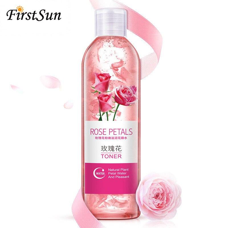 Firstsun, pétalos de rosa, esencia de agua, tonificadores faciales, 250 ml, reduce los poros, blanqueamiento, humectante, Control de aceite, cuidado de la piel, tóner