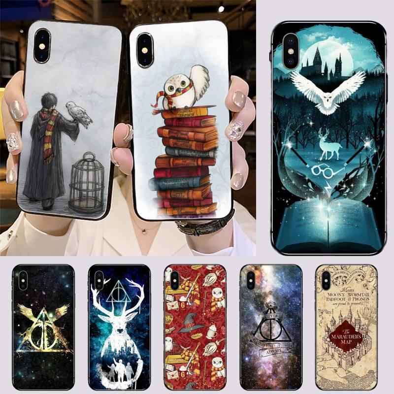 Capa de telefone para iphone 5 5S se 5c 6s 7 8 plus x xs xr 11 pro max sempre hogwart harries potter design cômico coque escudo