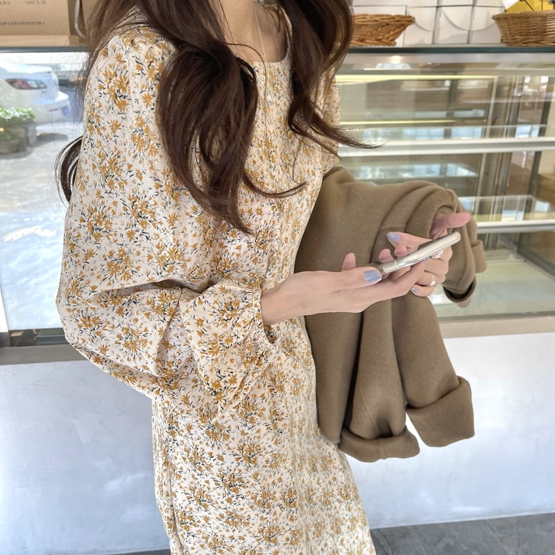 Korean Chic Gentle Sweet Western Style Youthful-Looking Inner Floral Dress Lace-up Waist-Controlled