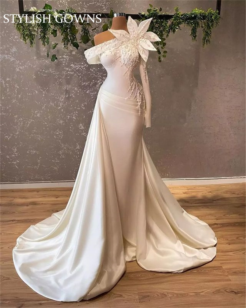 Review 2021 Elegant New White One Shoulder Wedding Dress Pleats Beaded Pearls Bridal Gown Vestido De Fiesta De Boda