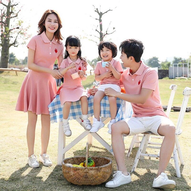 Платье для мамы и дочки, Одинаковая одежда для семьи, футболка-поло, летнее платье, одежда для пар, Одинаковая одежда для родителей и детей, ...