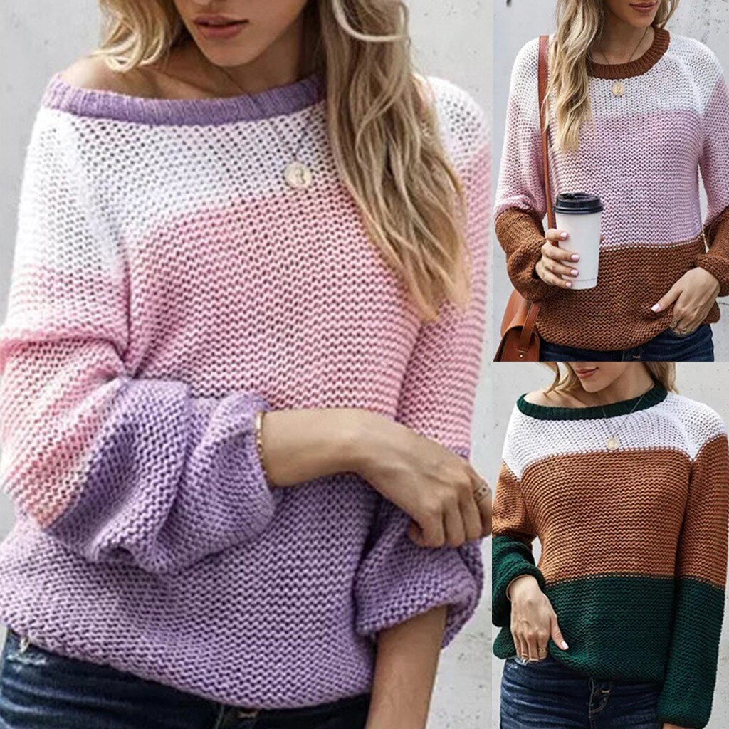 Mulheres Camisola Mock Neck Color Block Manga Comprida Knit Jumper Pulôver Tops mulheres camisola do vintage da moda Casuais женские свитера