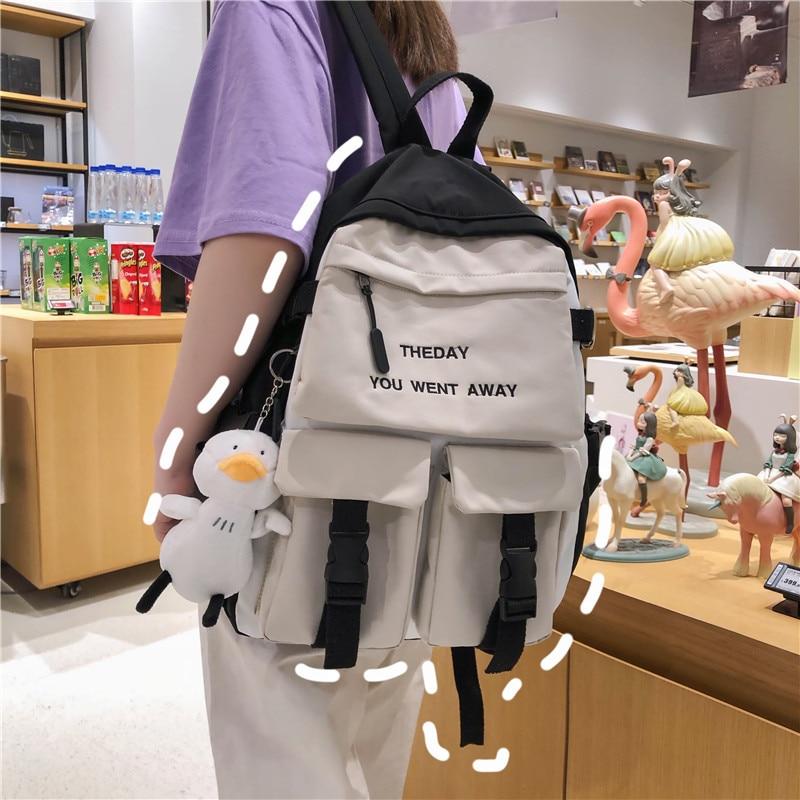 Weysfor Vogue College Teenager Laptop Backpack for Women Multi Pocket Nylon Backpack School Bag For Teenage Shoulder Travel Bag corduroy women backpack bookbag laptop daypack college travel school shoulder bag for teenage girl f42a