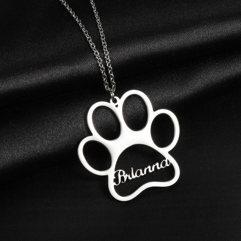 316l stainless steel animal paw charm necklace gold silver tone hollow out lovely cat dog print paw pendant long chain necklace MYDIY Name Necklace Dog Paw Necklace Personalized Dog Necklace Paw Print Dog Bone Initial Charm Pet Jewelry For Gift
