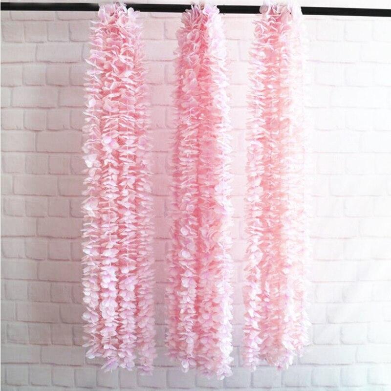 1m Artificial Flower Vines Silk Hydrangea Rattan Fake Wisteria Flowers DIY Wedding Arch Home Decor Wall Hanging Backdrop Flowers