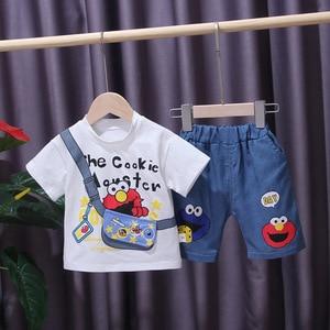 Jchao Kids brand Summer Clothing Set Cartoon print Short Sleeve T-shirt & shorts girls Boys Suit Children Clothing 1-4Y Baby boy