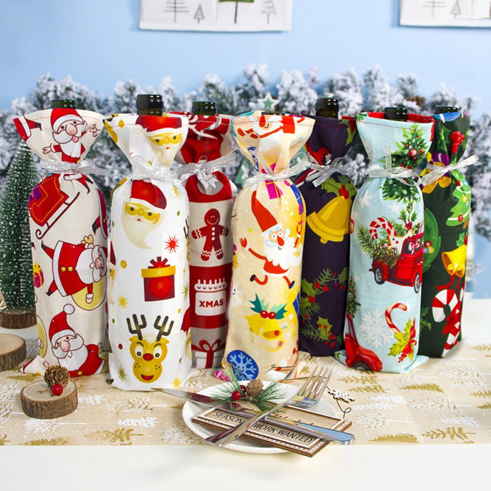 7Pcs Colorful Xmas Tree Santa Garland Wine Bottle Cover Champagne Packaging Bag Holiday Party Xmas D