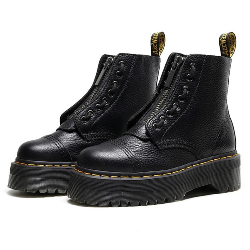 جلد طبيعي النساء الأحذية 2021 النساء أحذية الشتاء منصة الأحذية القوطية الخريف السيدات الإناث دراجة نارية حذاء من الجلد سستة