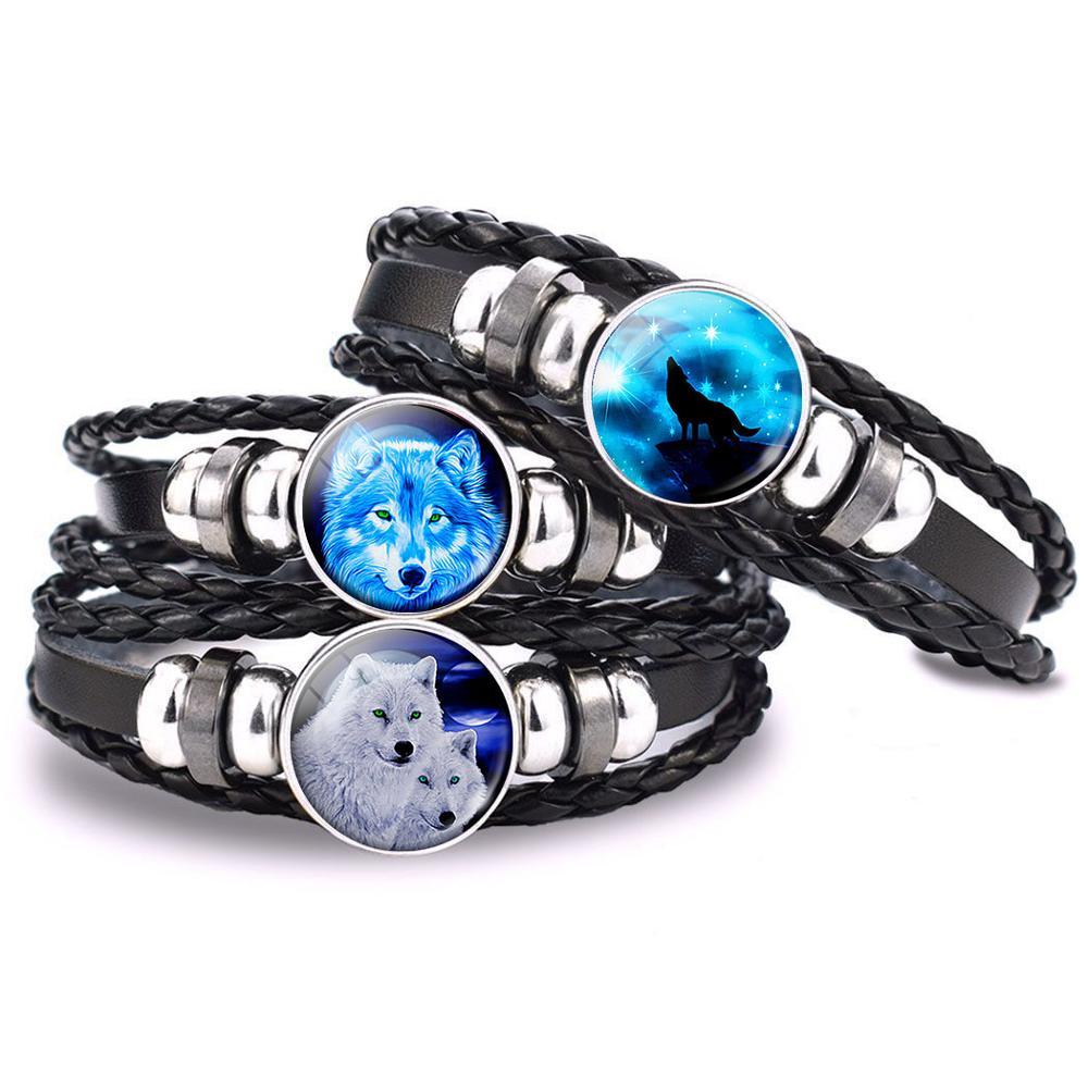 AliExpress - Fashion Men's Women's Punk Bracelet Wolf Glass Cabochon Braided Black Leather Woven Bracelet