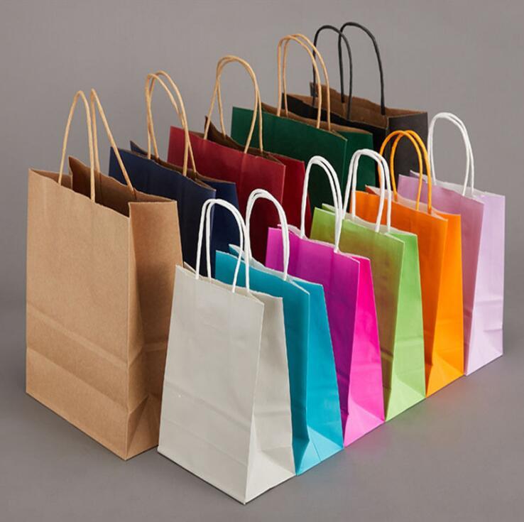 80pcs/lot Blue paper bag with handle Wedding Party Favor Paper Gift Bags 21*15*8cm
