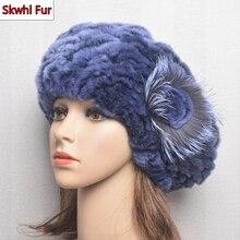 Women Winter Warm Rex Rabbit Fur Hats 100% Real Rex Rabbit Fur Cap New Lady Beret Caps Knitted Real