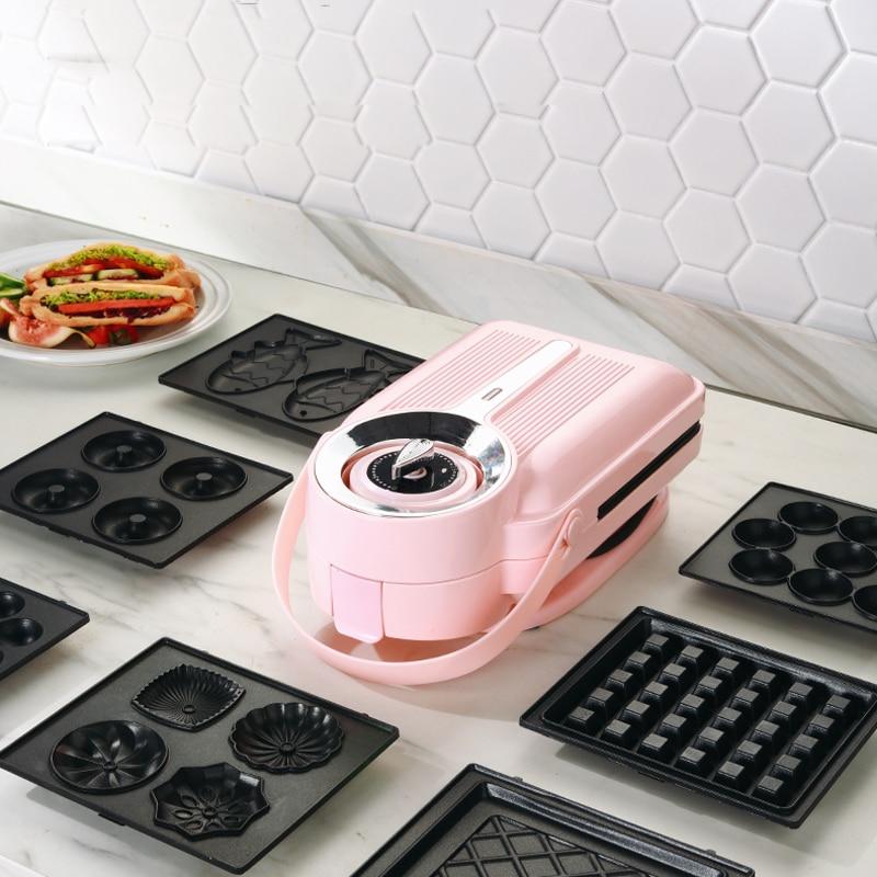Sandwichera eléctrica de 650W con temporizador, máquina para hacer gofres, tostadora, máquina...