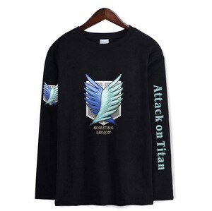 Japanese manga assault of giant print fashion trend long sleeve T-shirts for men and women