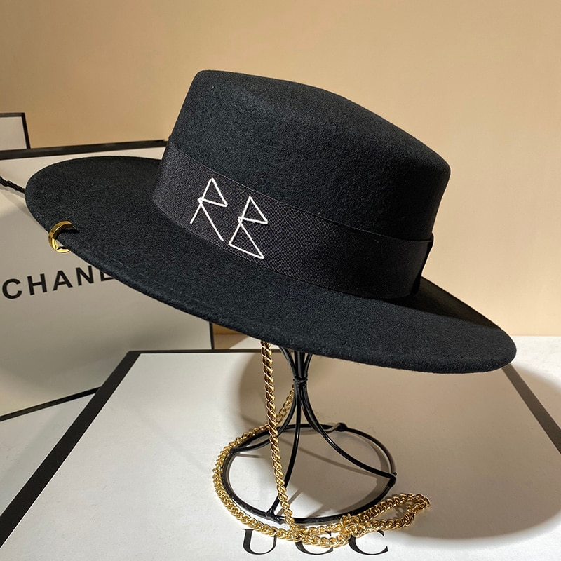 USPOP New Women Fedoras Wool Hats Fashion Letter Fedoras with Chain