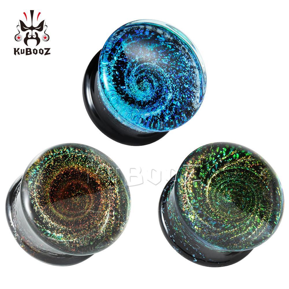 Moda redonda multi-cor vidro orelha piercing plugues maceiros falso earrrrrings presente romântico para unsex 6mm a 25mm