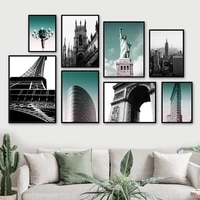 empire state paris tower statue of liberty wall art canvas painting nordic posters and prints wall picture for living room decor