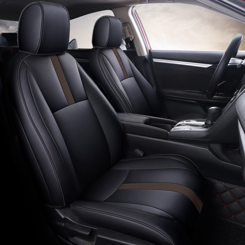 Custom Fit Full Set Car Seat Covers for Honda Select Civic 2016 2017 2018 2019 2020 2021(Rear Row W/ 40/60 Split) - Leatherette