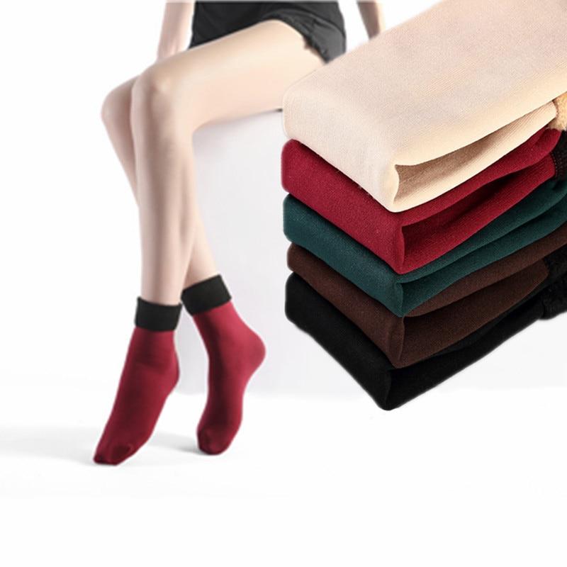 3 Pairs Women's Winter Warm Socks Thicken Thermal Nylon Cashmere Solid Color Socks Soft Snow Velvet Boots Floor Sleep Black Sock