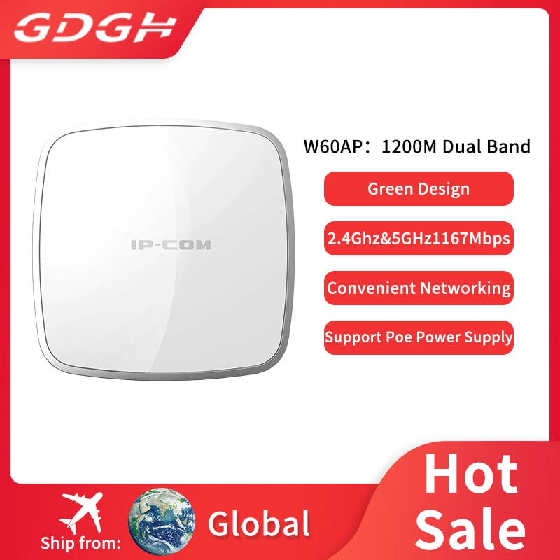IP-COM W60AP-punto de acceso inalámbrico para interiores, banda Dual AP1200M, 11AC, soporte...