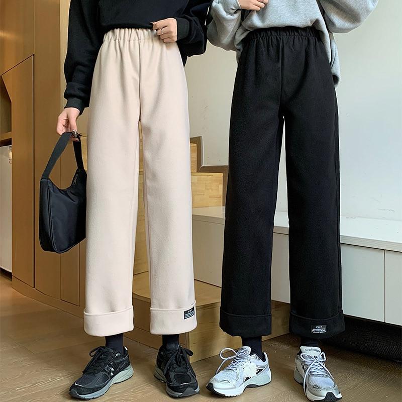 Newالصوفية النساء السراويل الخريف موضة عالية الخصر الأسود الكورية فضفاض عبر الكاحل طول السراويل جيب غير رسمي الإناث بنطلون