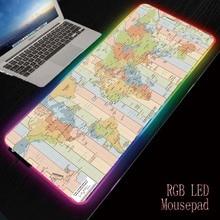 Mairuige carte du monde de jeu RGB tapis de souris Gamer ordinateur tapis de souris rétro-éclairé tapis de souris grand tapis de souris pour clavier de bureau LED tapis de souris