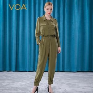 VOA 30M/m Heavy Weight Silk Grey Green Lapel Long Sleeve Single Breasted Generous Pocket Bandage Jumpsuits KE237