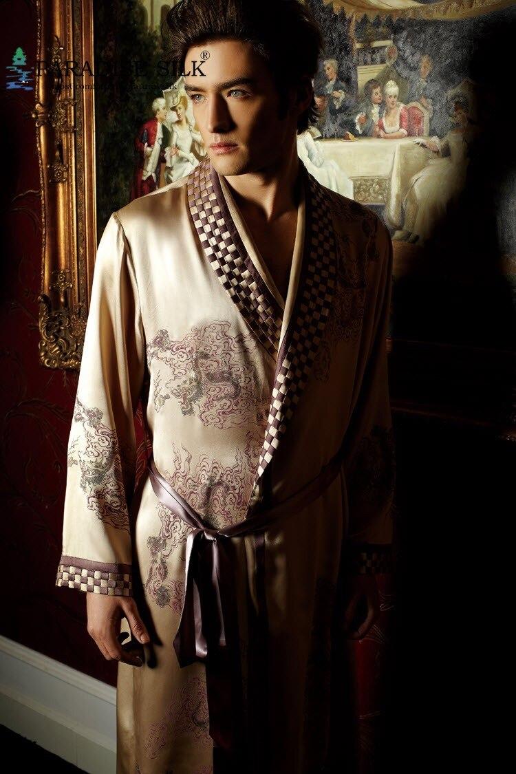 Мужская шелковая ночная рубашка, 100% чистый шелк 19 мм, роскошная одежда для сна, кимоно с вышивкой, размер L XL XXL