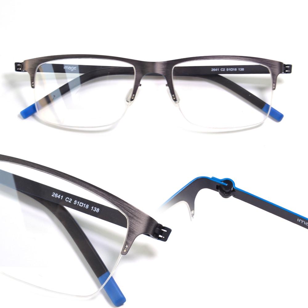 Screwless Germany Berlin Design Metal Eyewear Optical Frame Ultra Light Flexible Half Rim Men Prescription Myopia Spectacles