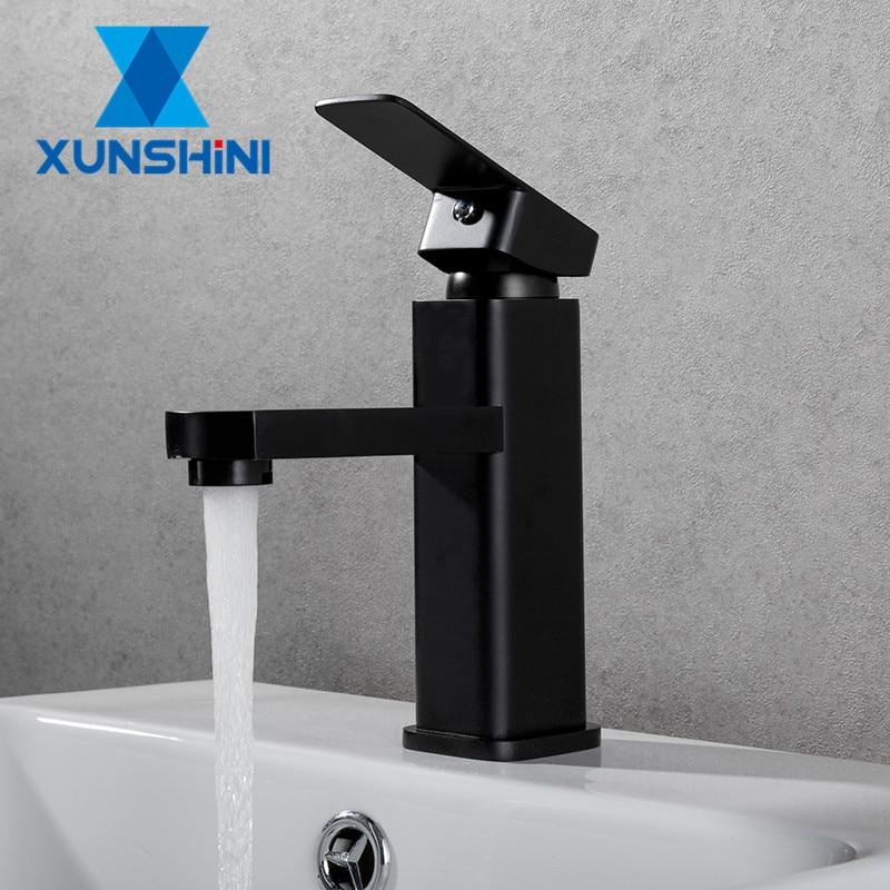 XUNSHINI شحن مجاني أسود مربع الطلاء صنبور بالوعة مغسلة صنبور حوض للحمام الحنفيات الساخن الباردة صنبور حوض خلاط ثقب واحد