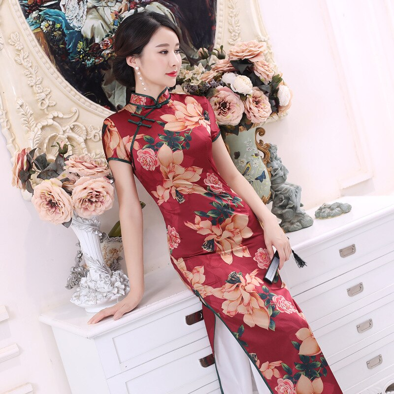 2021 New Silk Plus Size Chinese Style Retro Short-sleeved Cheongsam Dress Long Skirt Womens Hanfu