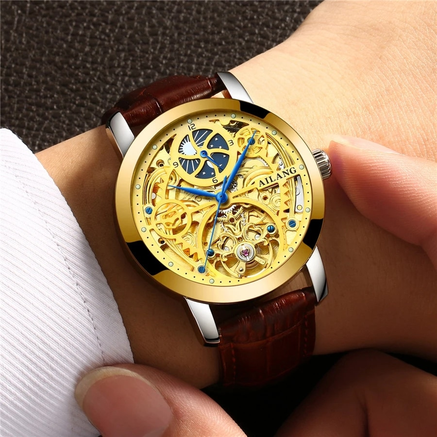 AILANG Casual Luminous Moon Phase Leather Strap Business Tourbillon Automatic Skeleton Men Watches Sport Relogio Masculino 6812A enlarge