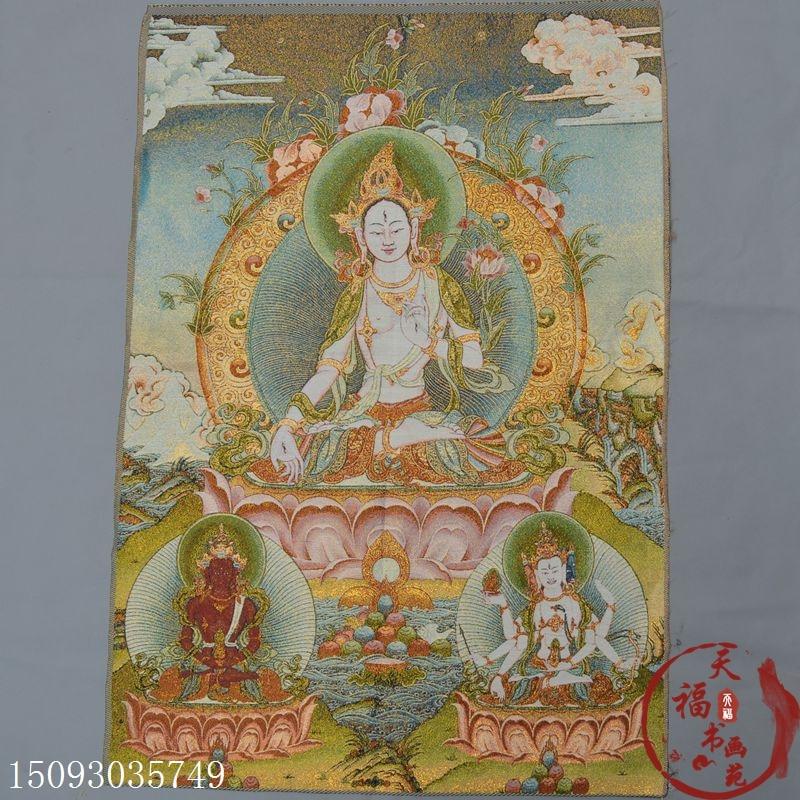 Navidad el Tíbet Thangka bordado de seda bordado Nepal pintura de Thangka bordado de seda oro blanco Buda Tara Statu de halloween