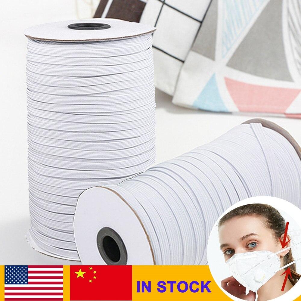 Máscaras de banda elástica de 180m, Blanco, Negro, 3mm-12mm, alta elasticidad, banda de goma plana, Banda de la cintura, costura, cuerda elástica, máscara DIY