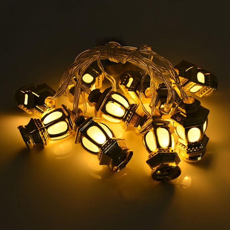 Ramadan Decoration Plastic Lantern Led String Lights Ramadan Kareem Decor Eid Mubarak Gift Al-Fitr Eid Festival Party Supplies