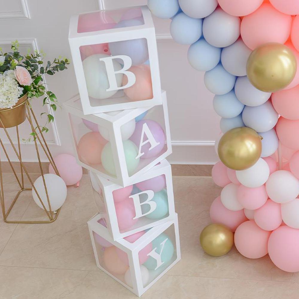 30cm Transparent Name Age Balloon Box Baby Shower 1st Birthday Party Decor Kids Happy Birthday Ballo
