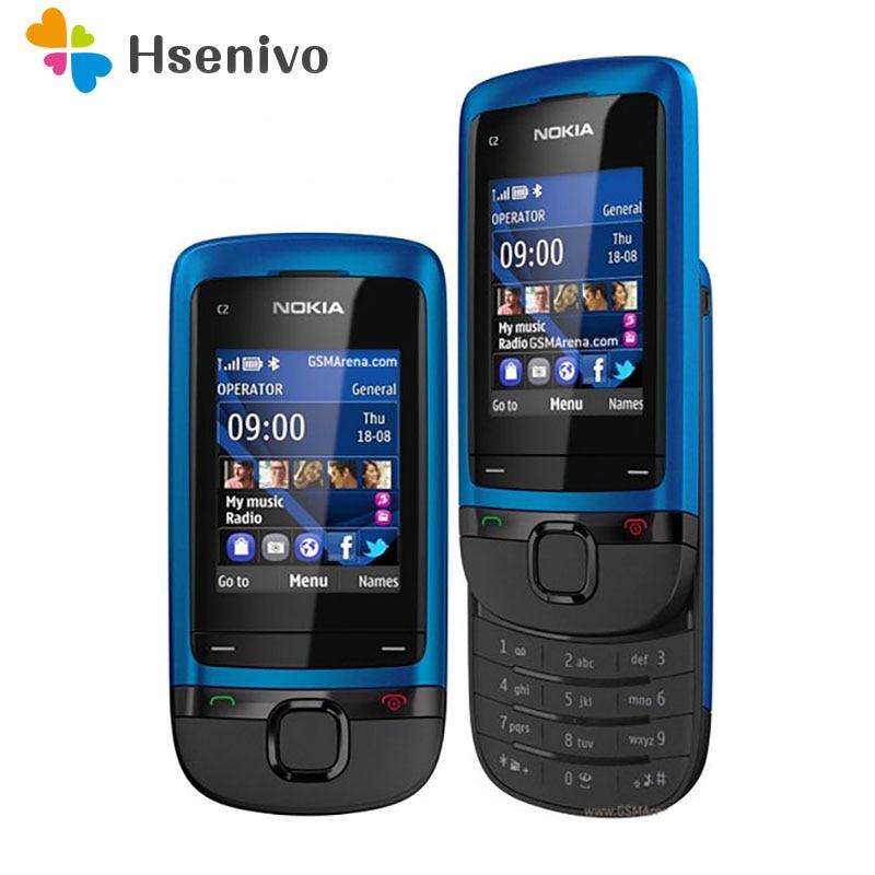 Nokia C2-05 отремонтированы Оригинальный разблокирована Nokia C2-05 слайдовый сотовый телефон Bluetooth Восстановленное