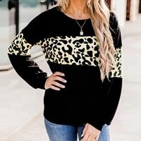 women sweater autumn leopard print long sleeves knitted pullover top casual o neck sweaters streetwear sueters de mujerfs