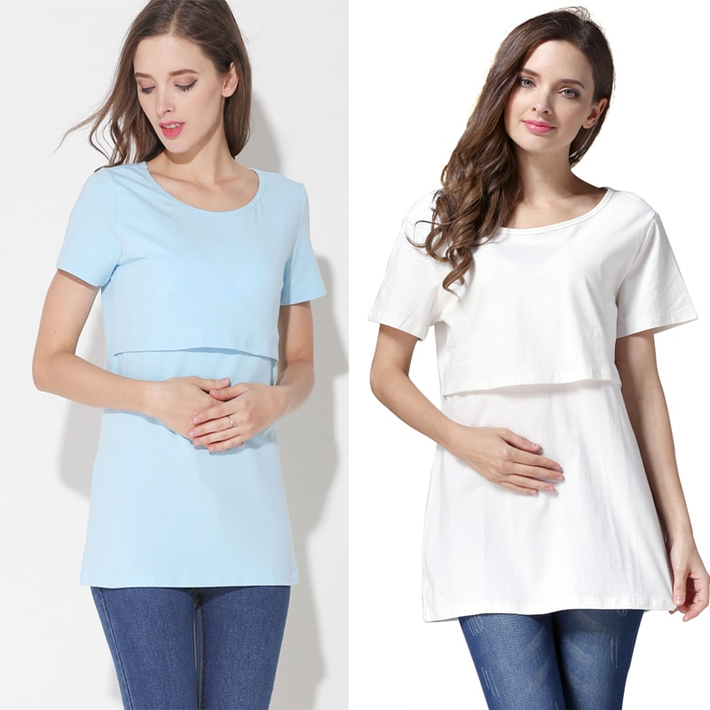 Emotion Moms Cotton Maternity Tops Breastfeeding Clothes Lactation T shirt Wholesale Mix Colors 2pcs/lot enlarge