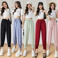 2021 summer new color ice silk chiffon bloomers female fall feeling loose and thin wild anti mosquito beam pants nine points